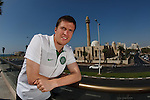 Gary Caldwell at the Intercontinental Hotel in Tel Aviv for Celtic's Europa League press conference