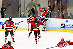 19 MAR 2016: Players from Wis.-River Falls celebrate a goal together during the Division lll Women's Ice Hockey Championship is held at the Ronald B. Stafford Ice Arena in Plattsburgh, NY. Plattsburgh defeated Wis.-River Falls 5-1 for the national title. Nancie Battaglia/NCAA Photos