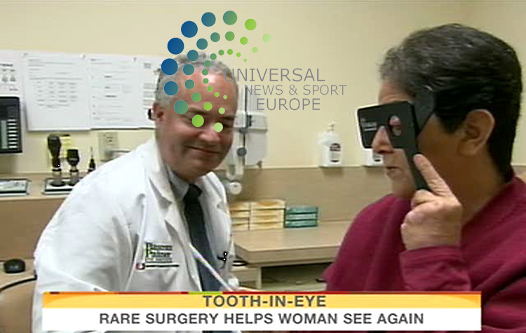 "Sharron Thornton, 60, who has been blind for nearly nine years, with surgeon Victor Perez after undergoing  a first-of-its-kind surgery at the University of Miami  that allowed her to regain useful vision in her eyes, and doctors used her tooth to make it all happen. The procedure, called modified osteo-odonto-keratoprosthesis, implants the patient's tooth in the eye to securely hold a prosthetic lens. The surgery is usually recommended in only the most extreme cases when the eye is not a candidate for cornea replacement or some other type of corrective surgery. ""We take sight for granted, not realizing that it can be lost at any moment,"" Thornton said. ""This truly is a miracle."" UM said  the procedure has never been performed in the United States. It was performed at the Bascom Palmer Eye Institute. The name of the tooth that's selected is called the eyetooth because it's located directly under the eye. Doctors said you can't see the tooth in the eye because it is covered by other layers, but the tooth keeps the lens stable and bonds it with the rest of the healthy parts of the eye. Science fiction to us, but a miracle to Thornton and her family...17 September 2009: Universal News and Sport (Scotland)/NBC.All pictures must be credited to  www.universalnewsandsport.com.(0ffice) 0844 884 51 22.(Universal News does not claim any Copyright or License in the attached material. Any downloading fee charged by Universal News and Sport is for Universal News services only. We are advised that videograbs should not be used more than 48 hours after the time of original transmission, without the consent of the copyright holder). ."