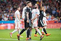 Spain Daniel Carvajal and Argentina Nicolas Otamendi during friendly match between Spain and Argentina at Wanda Metropolitano in Madrid , Spain. March 27, 2018.  *** Local Caption *** © pixathlon<br /> Contact: +49-40-22 63 02 60 , info@pixathlon.de