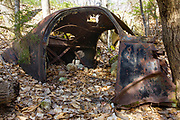 Old rusted car in the Tecumseh Brook drainage area of Waterville Valley, New Hampshire.