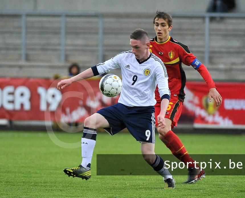 Scotland U19 - Belgium U19 : Declan Mcmanus (9) and Julien De Sart.foto DAVID CATRY / Nikonpro.be