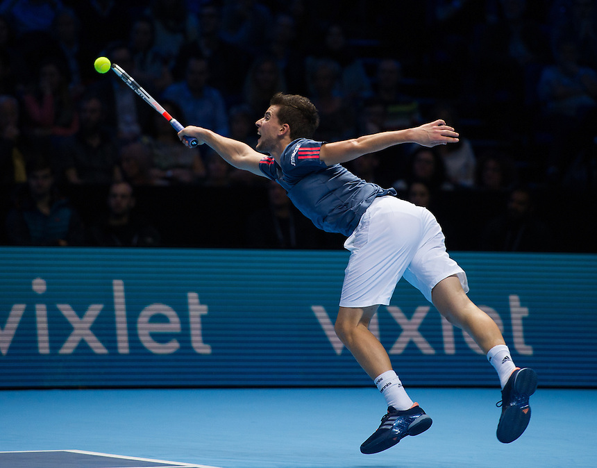 Dominic Thiem of Austria in action against Milos Raonic of Canada in their Group Ivan Lendl match today<br /> <br /> Photographer Ashley Western/CameraSport<br /> <br /> International Tennis - Barclays ATP World Tour Finals - Day 5 - Thursday 17th November 2016 - O2 Arena - London<br /> <br /> World Copyright &copy; 2016 CameraSport. All rights reserved. 43 Linden Ave. Countesthorpe. Leicester. England. LE8 5PG - Tel: +44 (0) 116 277 4147 - admin@camerasport.com - www.camerasport.com