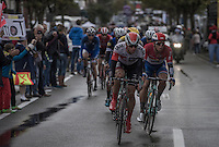 Oliver Naesen (BEL/IAM) &amp; Dylan Groenewegen (NED/LottoNL-Jumbo) passing the finish line in the local laps; in the final lap these 2 would be the (controversial) protagonists for the win later that day<br /> <br /> Tour de l'Eurom&eacute;tropole 2016 (1.1)<br /> Poperinge &rsaquo; Tournai (196km)/ Belgium