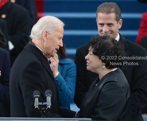 Vice President Joe Biden shakes hands with Supreme Court Justice  Sonia Sotomayor after being sworn-in for a second term during the public inauguration ceremony at the U.S. Capitol Building in Washington, D.C. on January 21, 2013.     .Credit: Pat Benic / Pool via CNP