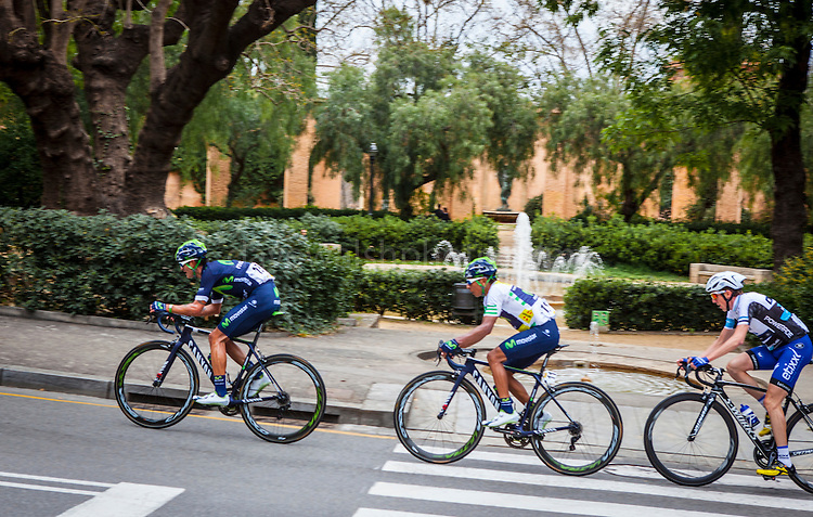 Movistar&rsquo;s Winner Anacona sets the pace for the  leader of the Volta Catalunya 2016 cycle race, Colombian Nairo Quintana, as he successfully defends his jersey from Alberto Contador and Dan Martin as the peloton climbs Montjuic, Barcelona, on the last stage of the Volta Catalunya 2016 cycling race. <br /> <br /> Movistar Winner Anacona marca el ritmo de la l&iacute;der de la carrera ciclista Volta Catalunya 2016, Colombia Nairo Quintana, como defiende con &eacute;xito su maillot de Alberto Contador y Dan Martin como el pelot&oacute;n sube Montjuic, Barcelona, en la &uacute;ltima etapa de la Volta Catalunya 2016 carrera ciclista.<br /> <br /> Movistar Winner Anacona marca el ritme de la l&iacute;der de la cursa ciclista Volta Catalunya 2016, Col&ograve;mbia Nairo Quintana, com defensa amb &egrave;xit el seu mallot d'Alberto Contador i Dan Martin com el pilot puja Montju&iuml;c, Barcelona, en l'&uacute;ltima etapa de la Volta Catalunya 2016 cursa ciclista.
