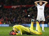 Swansea City goalkeeper Lukasz Fabianski rues a missed chance during the Barclays Premier League match between Manchester United and Swansea City played at Old Trafford, Manchester on January 2nd 2016
