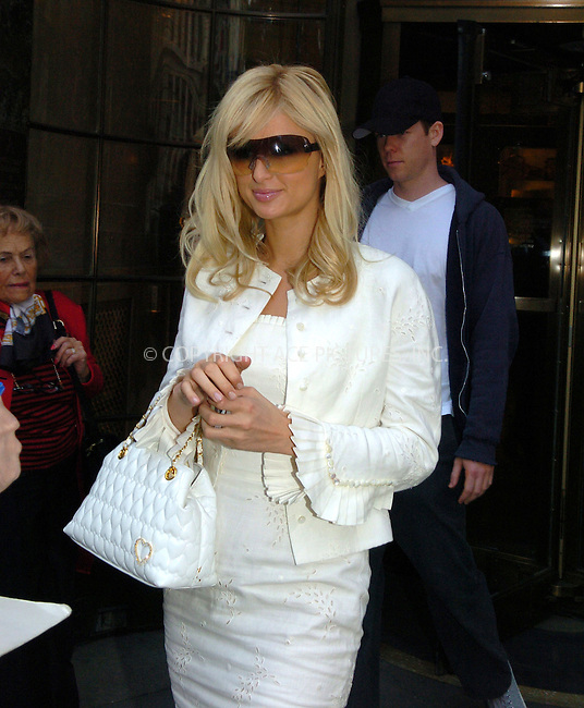 WWW.ACEPIXS.COM . . . . .  ....NEW YORK, MAY 5, 2005....Paris Hilton wears all white for a press conference for her new film 'House of Wax.'....Please byline: Philip Vaughan -- ACE PICTURES.... *** ***..Ace Pictures, Inc:  ..Craig Ashby (212) 243-8787..e-mail: picturedesk@acepixs.com..web: http://www.acepixs.com