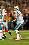 7 December 2008:  Miami Dolphins' quarterback Chad Pennington attempts a shovel pass in the first quarter against the Buffalo Bills in the first regular season NFL game ever to be played in Canada. The Dolphins defeated the Bills 16-3 at the Rogers Centre in Toronto, Ontario. ..Mandatory Photo Credit: Ed Wolfstein Photo