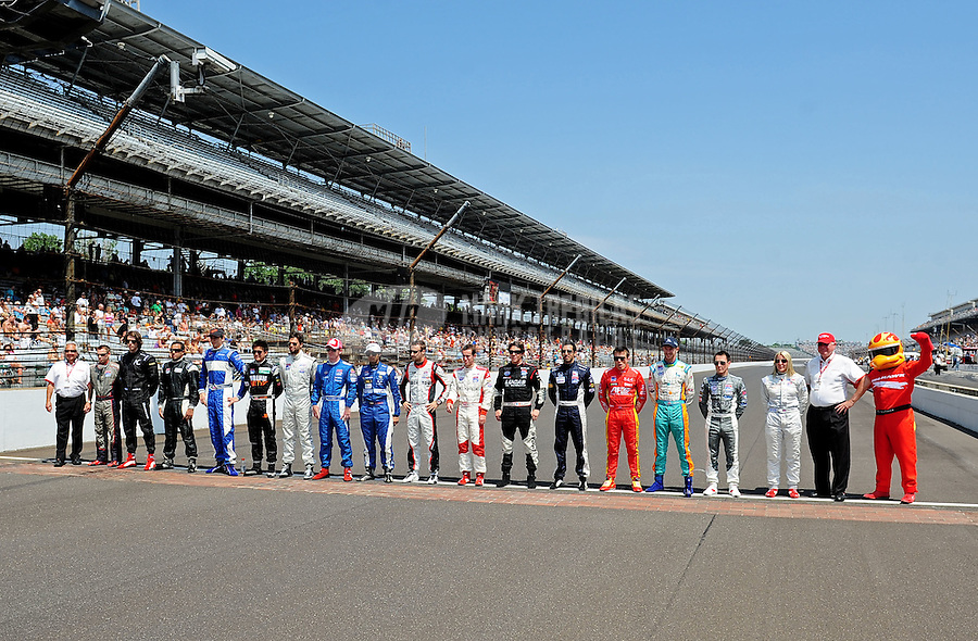 May 28, 2010; Indianapolis, IN, USA; The starting field of Indy Light Series drivers pose for a group photo prior to the Freedom 100 at the Indianapolis Motor Speedway. Mandatory Credit: Mark J. Rebilas-