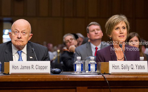 Former Director of National Intelligence of the United States James R. Clapper, left, and former Acting Attorney General of the US Sally Q. Yates, right, appear before the US Senate Committee on the Judiciary Subcommittee on Crime and Terrorism hearing titled &ldquo;Russian Interference in the 2016 United States Election&rdquo; on Capitol Hill in Washington, DC on Monday, May 8, 2017.<br /> Credit: Ron Sachs / CNP<br /> (RESTRICTION: NO New York or New Jersey Newspapers or newspapers within a 75 mile radius of New York City)