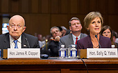 """Former Director of National Intelligence of the United States James R. Clapper, left, and former Acting Attorney General of the US Sally Q. Yates, right, appear before the US Senate Committee on the Judiciary Subcommittee on Crime and Terrorism hearing titled """"Russian Interference in the 2016 United States Election"""" on Capitol Hill in Washington, DC on Monday, May 8, 2017.<br /> Credit: Ron Sachs / CNP<br /> (RESTRICTION: NO New York or New Jersey Newspapers or newspapers within a 75 mile radius of New York City)"""