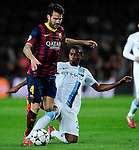 Barcelona. Spain. 12/03/201. football match between fc barcelona and manchester city.<br /> cesc fabregas