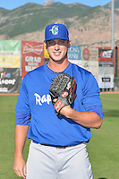 Garrett Bolt (37) of the Ogden Raptors poses for a photo during media day on June 14, 2014 at Lindquist Field in Ogden, Utah. (Stephen Smith/Four Seam Images)