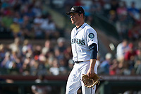 Peoria Javelinas relief pitcher Anthony Misiewicz (56), of the Seattle Mariners organization, walks off the field between innings of the Arizona Fall League Championship Game against the Salt River Rafters at Scottsdale Stadium on November 17, 2018 in Scottsdale, Arizona. Peoria defeated Salt River 3-2 in 10 innings. (Zachary Lucy/Four Seam Images)