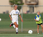 BROOKINGS, SD - AUGUST 23:  Alexa Trakalo #25 from South Dakota State University pushes the ball against Iowa State in the first half of their game Friday evening at Fischback Soccer Field in Brookings. (Photo by Dave Eggen/Inertia)