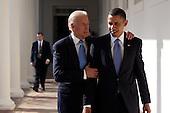 United States President Barack Obama walks with U.S. Vice President Joseph Biden along the Colonnade, Wednesday, February 3, 2010.  .Mandatory Credit: Pete Souza - White House via CNP
