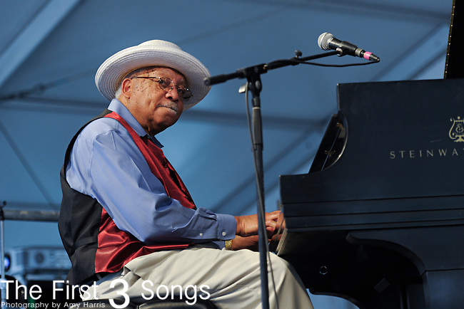 Ellis Marsalis performs during the New Orleans Jazz & Heritage Festival in New Orleans, LA on May 8, 2011.