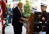 United States President Donald J. Trump welcomes Amir Sabah al-Ahmed al-Jaber al-Sabah of Kuwait to the West Wing of the White House in Washington, DC on September 7, 2017.<br /> Credit: Martin H. Simon / CNP