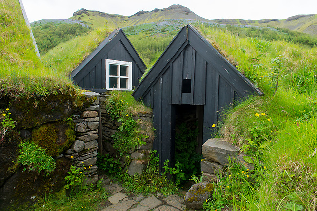Traditional Turf Houses at the Skogar folk museum in southern Iceland.
