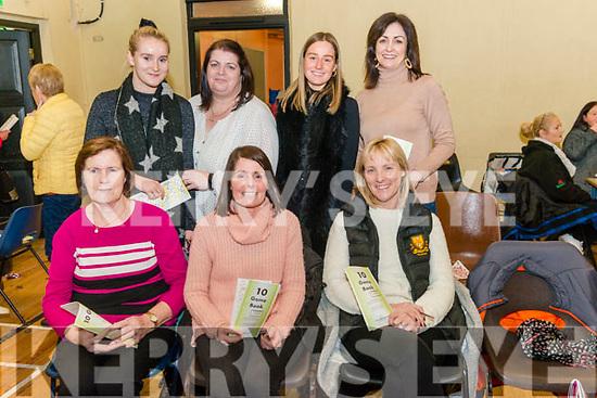 front l-r Mary Gavin from Mayo, Deborah Anne O'Shea and Frances O'Sullivan both from Killarney, back l-r Laura O'Sullivan from Killarney, Aine Garvin from Mayo, Rebecca O'Shea and Triona O'Connor both from Killarney pictured at Dr Crokes Bingo night at St Mary's Parish Hall last Sunday night.