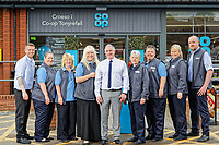 (L-R) Employees Thomas Williams, Louise Bidley, Susan Morgan, Sian Coks, Store manager Wayne Tyler, employees Lisa Jones, Michelle Thomas, Lisa Banks, Matthew Pope