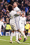Real Madrid's Marcelo and Sergio Ramos during Copa del Rey match between Real Madrid and Celta de Vigo at Santiago Bernabeu Stadium in Madrid, Spain. January 18, 2017. (ALTERPHOTOS/BorjaB.Hojas)