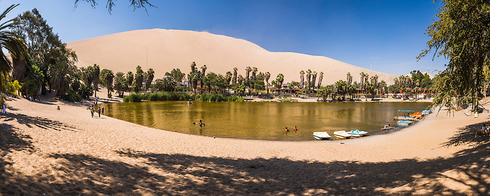 Huacachina, a sand dunes surrounded oasis village in the Ica Region of Peru