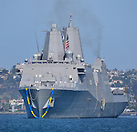 USS SAN DIEGO (LPD-22) arriving in San Diego for the first time, 6 April 2012.