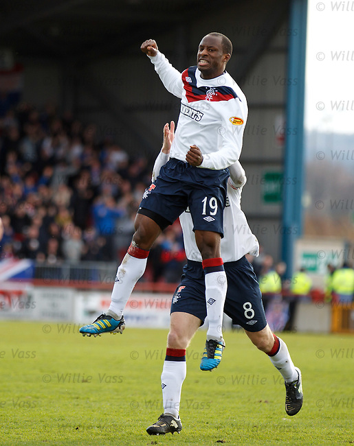 Sone Aluko celebrates after scoring for Rangers