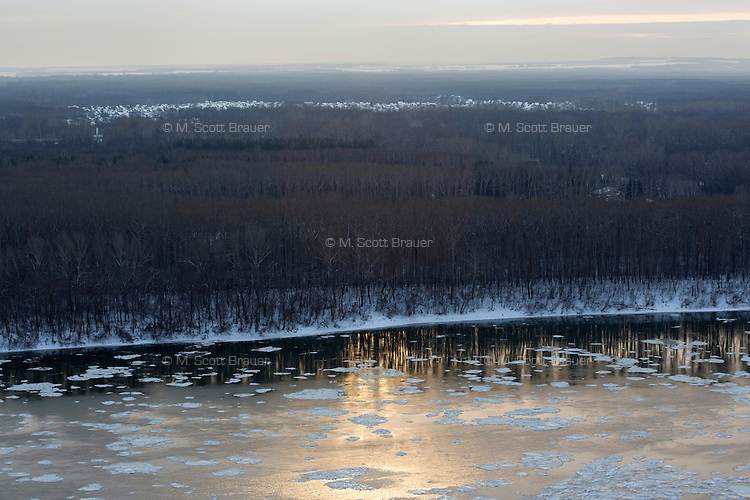 A view of the White River with some ice cover in Ufa, Bashkortostan, Russia.