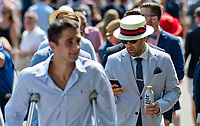 ELMONT, NY - JUNE 10: A man wears a fancy hat and tie  on Belmont Stakes Day at Belmont Park on June 10, 2017 in Elmont, New York (Photo by Scott Serio/Eclipse Sportswire/Getty Images)