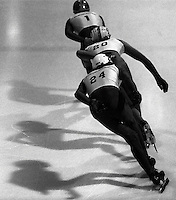 Pix:Michael Steele/SWpix...Speed skating, Sutton Coldfield, 1987...COPYRIGHT PICTURE>>SIMON WILKINSON..Speed Skating, Sutton Coldfield, 1987.