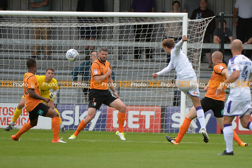 Andrew Shinnie of Luton Town shoots during Barnet vs Luton Town, Sky Bet EFL League 2 Football at the Hive Stadium on 12th August 2017