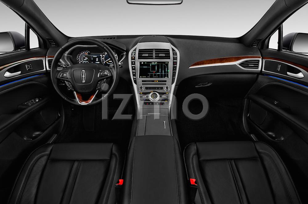 Stock photo of straight dashboard view of 2018 Lincoln MKZ Select 4 Door Sedan Dashboard