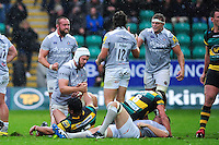 Bath Rugby players celebrate at the final whistle. Aviva Premiership match, between Northampton Saints and Bath Rugby on September 3, 2016 at Franklin's Gardens in Northampton, England. Photo by: Patrick Khachfe / Onside Images