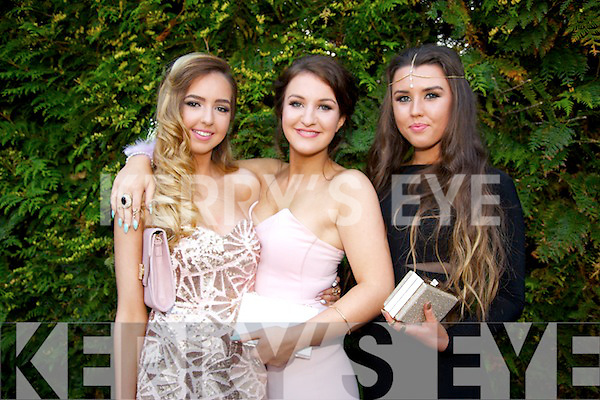 Ailish Sheehan, Oonagh Fitzgerald, Laura Brosnan pictured at  the St. Pats and Castleisland community college Debs at the Earl of Desmond Hotel on Friday
