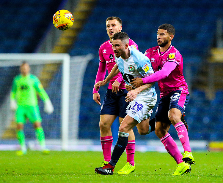 Blackburn Rovers' Corry Evans shields the ball from Queens Park Rangers' Nakhi Wells<br /> <br /> Photographer Alex Dodd/CameraSport<br /> <br /> The EFL Sky Bet Championship - Blackburn Rovers v Queens Park Rangers - Saturday 3rd November 2018 - Ewood Park - Blackburn<br /> <br /> World Copyright © 2018 CameraSport. All rights reserved. 43 Linden Ave. Countesthorpe. Leicester. England. LE8 5PG - Tel: +44 (0) 116 277 4147 - admin@camerasport.com - www.camerasport.com