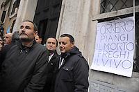 Roma, 12 Dicembre 2011.Piazza Montecitorio.I sindacati CGIL, UIL,CISL, e UGL manifestano uniti davanti il Parlamento contro la manovra finanziaria e i tagli alle pensioni