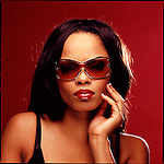 Beauty shot of African American woman wearing sunglasses