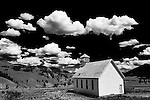 Black and white image of old church in Creed Colorado