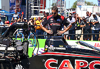 Sept. 22, 2013; Ennis, TX, USA: Crew member for NHRA top fuel dragster driver Steve Torrence during the Fall Nationals at the Texas Motorplex. Mandatory Credit: Mark J. Rebilas-