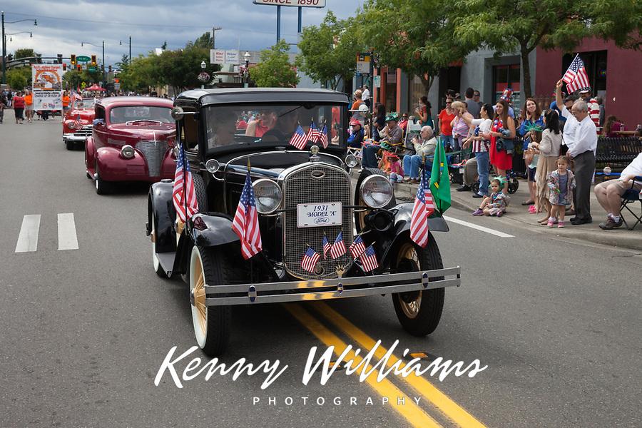 Black 1931 Model A classic car, Independence Day Parade 2016, Burien, Washington, USA.