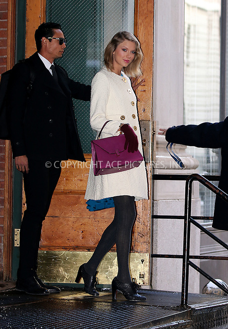 WWW.ACEPIXS.COM<br /> <br /> February 17 2015, New York City<br /> <br /> Singer Taylor Swift leaves her downtown apartment on February 17 2015 in New York City<br /> <br /> By Line: Zelig Shaul/ACE Pictures<br /> <br /> <br /> ACE Pictures, Inc.<br /> tel: 646 769 0430<br /> Email: info@acepixs.com<br /> www.acepixs.com