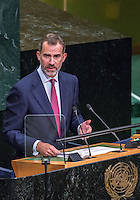 UN HEADQUARTERS, NEW YORK, NY, UNITED STATES - 2016/09/20: Spanish King Felipe IV delivers his remarks on the first day of the UN General Assembly's General Debate, IN General Assembly Hall at UN Headquarters in New York.VIEWpress/Maite H. Mateo