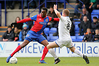 Jay Harris of Tranmere Rovers and Fejiri Okenabirhie of Dagenham during Tranmere Rovers vs Dagenham & Redbridge, Vanarama National League Football at Prenton Park on 11th November 2017