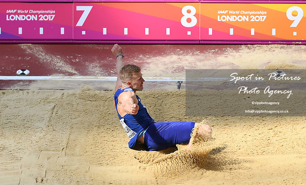 Karl Robert SALURI (EST) in the mens decathlon long jump. IAAF world athletics championships. London Olympic stadium. Queen Elizabeth Olympic park. Stratford. London. UK. 11/08/2017. ~ MANDATORY CREDIT Garry Bowden/SIPPA - NO UNAUTHORISED USE - +44 7837 394578