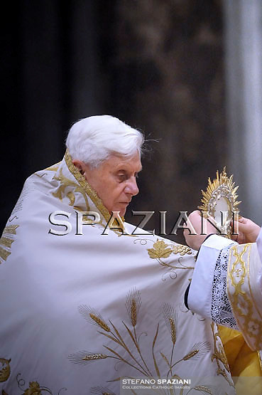 Pope Benedict XVI during the vesper prayers for the Presentation of the Lord feast  at St Peter's Basilica at The Vatican. 02 February 2010