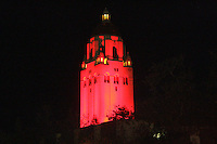 30 November 2007: Hoover Tower in red during Big Game week before Stanford's 3-0 win over Santa Clara University in the first round of the NCAA Division 1 Women's Volleyball Championships in Maples Pavilion in Stanford, CA.