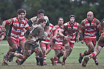 Mark Selwyn looks for options as the Karaka defenders close in. Counties Manukau Premier rugby game between Karaka & Manurewa played at the Karaka Domain on July 5th 2008..Karaka won 22 - 12.
